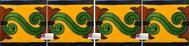 Cenefa Azulejo Talavera modelo Chilena en fondo Balnco Mexicano en 10.5 x 10.5 cm, ideal para baños y cocinas mexicanas lo encuentras en Rústicos Artesanales visítanos en nuestra web www.rusticosartesanales.com
