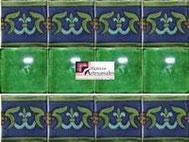 Cenefa en Azulejo Talavera modelo Guía Especial Azul con Verde con Liso Verde Deslavado en 10.5 x 10.5 cm, ideal para baños y cocinas mexicanas lo encuentras en Rústicos Artesanales visítanos en nuestra web www.rusticosartesanales.com