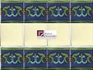 Cenefa en Azulejo Talavera modelo Guía Especial Azul con Verde con Liso Blanco Mexicano en 10.5 x 10.5 cm, ideal para baños y cocinas mexicanas lo encuentras en Rústicos Artesanales visítanos en nuestra web www.rusticosartesanales.com