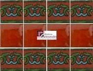 Cenefa en Azulejo Talavera modelo Guía Especial Ocre con Liso Terracota Real en 10.5 x 10.5 cm, ideal para baños y cocinas mexicanas lo encuentras en Rústicos Artesanales visítanos en nuestra web www.rusticosartesanales.com