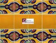 Cenefa en Azulejo Talavera modelo Indian con Liso Mostaza Real en 10.5 x 10.5 cm, ideal para baños y cocinas mexicanas lo encuentras en Rústicos Artesanales visítanos en nuestra web www.rusticosartesanales.com