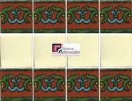 Cenefa en Azulejo Talavera modelo Guía Especial Ocre con Liso Blanco Mexicano en 10.5 x 10.5 cm, ideal para baños y cocinas mexicanas lo encuentras en Rústicos Artesanales visítanos en nuestra web www.rusticosartesanales.com