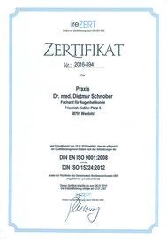 Seit 2007 ist unsere Praxisqualität zertifiziert nach DIN EN ISO 9001