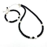 Onyx-Set Halskette und Armband, Muschelkernperlen, Silber 925
