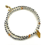 Armbandset, Hämatit hellsilber, Diammantanhänger 24 Karat vergoldet