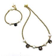 Schmuckset Halskette und Armband, Rocailles, Rauchqaurztropfen, Süßwasserzuchtperlen