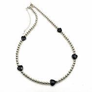 Halskette Silber 925, Onyx-Herzen facettiert, EAN 86544621352