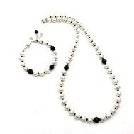 Schmuckset, Halskette und Armband, Muschelkernperlen mit Onyxperlen, Silber 925