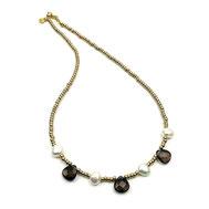 Halskette Rocailles gelbgoldfarben, RAuchquarz-ropfen, Süßwasserzuchtperlen, Silber 925 vergoldet