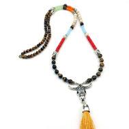 Halsketten, Damenhalsketten, Exklusiv, Tigerauge, Silber, Silber vergoldet, handgefertigt, Designerschmuck