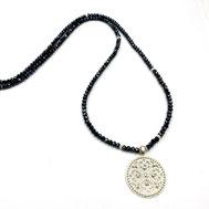 Halsketten, Damenhalsketten, Kristalle, Silber, blau-weiß, handgefertigt, Designerschmuck