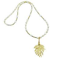 Halskette Süßwasserzuchtperlen, vergoldet, Rocailles, Hämatit,24 Karat vergoldet