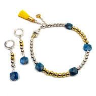 Schmuck-SET Armband-Ohrringe, Silber 925 und Apatitperlen, Quaste