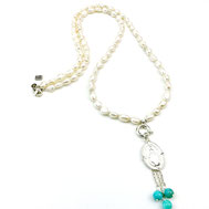 Halsketten, Damenhalsketten, Exkluxiv, Süßwasserperlen, Silber, Silber vergoldet,handgefertigt, Designerschmuck