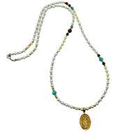 86544621161 Halskette lang, Muschelkernperlen, Amazonit, Achate, Madonnaanhänger