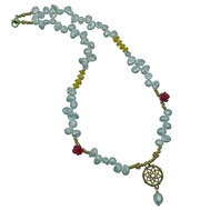 86544622670 Halskette lang, Kristalle, Jade, Carnoel großer Seesternanhänger
