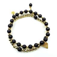 Armbänder, Damenarmbänder, Jaspis, grün-braun, DQ bronzefarben, handgefertigt, Designerschmuck