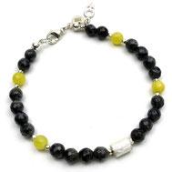 Herrenarmband, Larvikit, Achate gelb, Silber 925