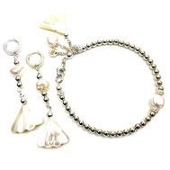 Schmuckset, Damenarmband und Ohrringe, Silber 925, Süßwasserzuchtperlen Perlmutt