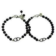 Partnerlook-Armbänder Onyx mit Kleblatt als Glückssymbol