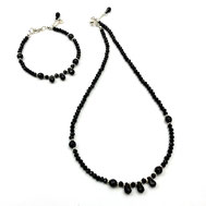 Schmuckset: Halskette und Armband, Kristalle schwarz, Onyx-Tropfen