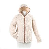 gilet laine naturelle de mouton cardigan capuche zip manche longue lainage veste chaude lainé poche homme femme peaux fourrures pas cher manteau marron brun