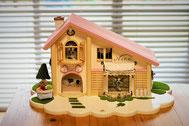 土台をひとまわり大きいサイズ奥行き40cm・幅63.5㎝にしたので、安定したお家になりました