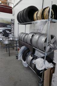 Räderregal in der Aufbereitungswerkstatt