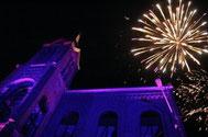 Feu d'artifice lors de l'inauguration de l'Espace Grand-Leez