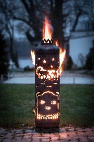 """Feuerstelle mit Tür """"Elche"""""""