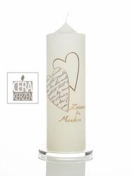 Hochzeitskerze mit zwei Herzen, Goldene Beschriftung, Traukerze, Individualisierte Hochzeitskerze