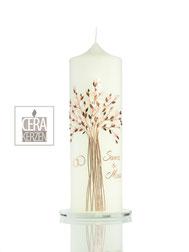 Hochzeitskerze Lebensbaum, Lebensbaum, Lebensbaum aus Wachs, Heiraten, Individualisierte Hochzeitskerze