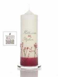 Hochzeitskerze mit echte Blumen, Traukerze, Hochzeitskerze Blumenwiese, individualisierte Hochzeitskerze, Beschriftung aus Wachs, Hochzeitskerze mit rote Blumen