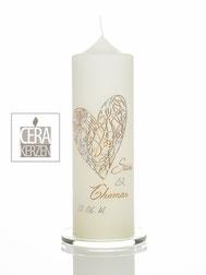 Hochzeitskerze Herz silber und gold, Herz silber gold, Individualisierte Hochzeitskerze, Beschriftung aus Wachs, Traukerze, Heiraten