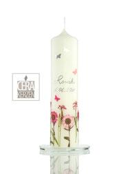Taufkerze Blumenwiese, Taufkerze mit echte Blumen, Taufkerze mit getrocknete Blumen, Beschriftung aus Wachs, individualisierte Taufkerze,