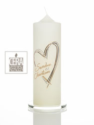 Hochzeitskerze mit Herz silber gold, Traukerze, Heiraten, Individualisierte Hochzeitskerze, Beschriftung aus Wachs, Wachsbuchstaben