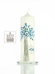 Taufkerze Lebensbaum, Taufkerze, individualisierte Beschriftung, Lebensbaum, Kommunion, Taufe