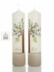 Taufkerzen für Zwillinge, Taufkerzen Lebensbaum, individualisierte Taufkerzen, individualisierte Beschriftung, Kommunion Kerzen, Taufe Zwillinge
