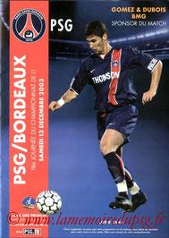 Programme  PSG-Bordeaux  2003-04