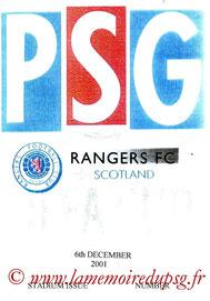 Programme pirate  PSG-Rangers  2001-02