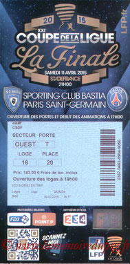 Ticket  Bastia-PSG  2014-15