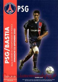Programme  PSG-Bastia  2002-03