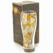 九谷焼通販 おしゃれなビアグラス ビアカップ ガラスのお殿様・お姫様キブン(金花詰)