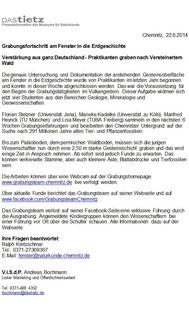 Grabungsfortschritt in Chemnitz