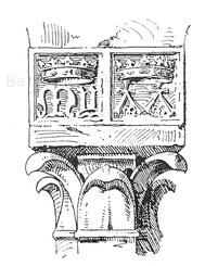 Die Handwerkszeichen der Plattnerfamilie Missaglia. Relief im Hofe des Hauses derselben in der Via degli Spadari zu Mailand. Um 1380.