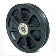 Seilrolle Ø 100 mm für Seile bis Ø 3 mm aus Kunststoff mit doppeltem Kugellager
