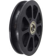Seilrolle Ø 90 mm für Drahtseile bis Ø 7 mm aus Kunststoff mit Gleitlager