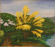 山桜とミモザの花  油彩10号