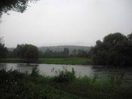 Campingplatz - Blick über die Maas auf den Pfefferrücken