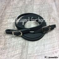 Fettlederzügel schwarz mit silbernen Islandschnallen 12mm